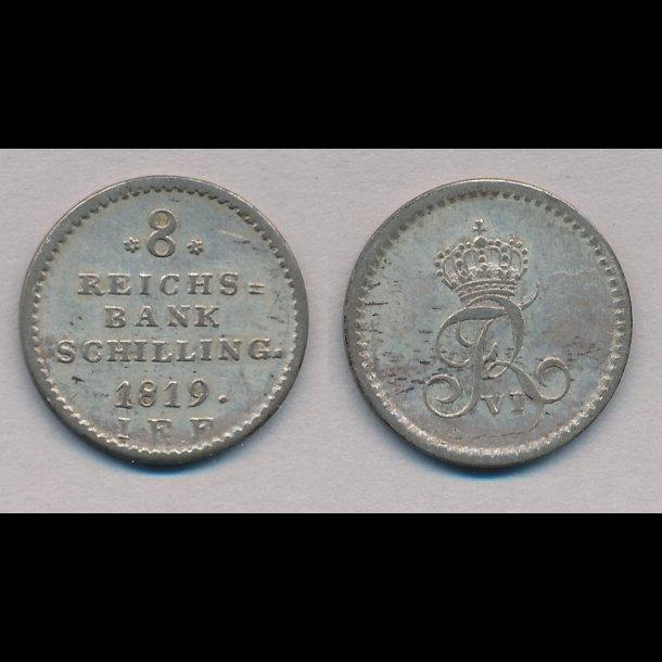 1819, Frederik VI, 8 rigsbank skilling, 01, H31C,