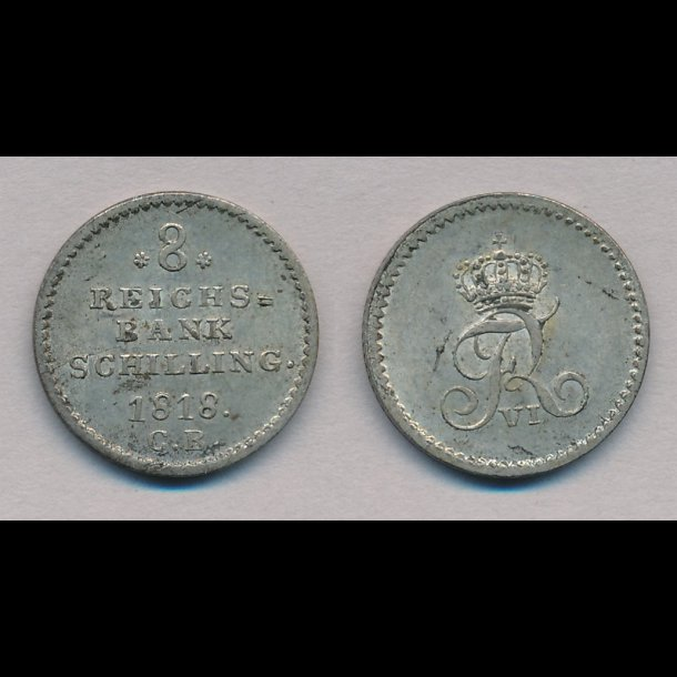1818, Frederik VI, 8 rigsbank skilling, 0 / 01, H31B,