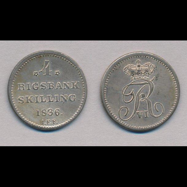 1836, Frederik VI, 4 rigsbank skilling, 01, H32,