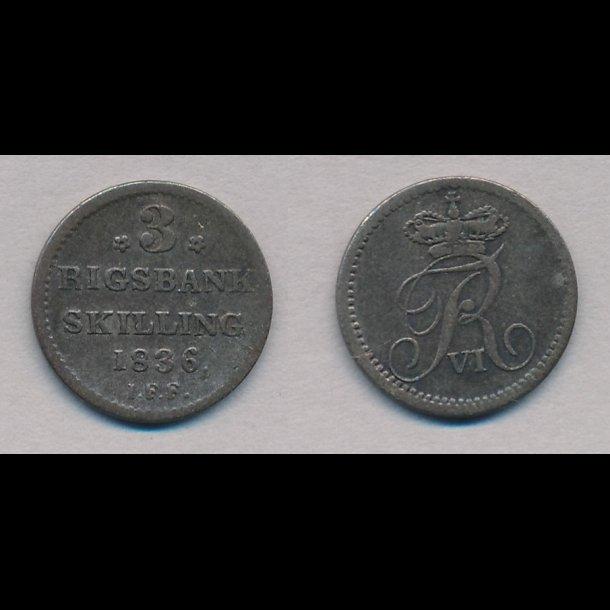 1836, Frederik VI, 3 rigsbank skilling, 1 (+), H33, Nedsat!