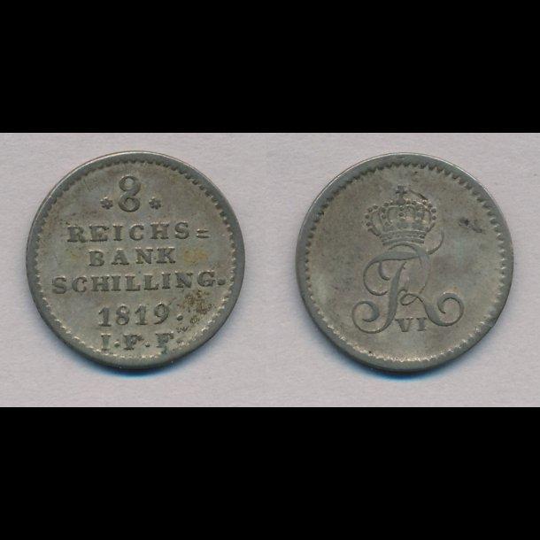 1819, Frederik VI, 8 rigsbank skilling, 1+, H31C, Nedsat!