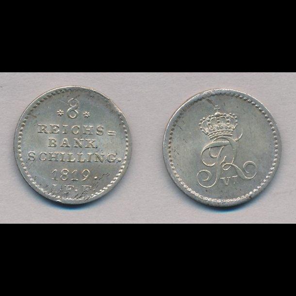 1819, Frederik VI, 8 rigsbank skilling, 0, H31C,