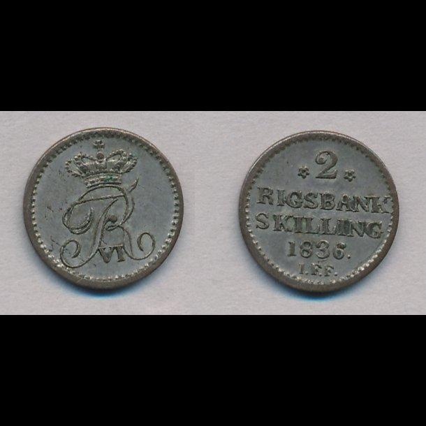 1836, Frederik VI, 2 rigsbank skilling, 1+, H34,