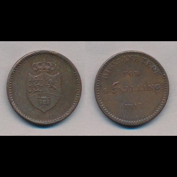 1813, Frederik VI, rigsbanktegn, 6 skilling, 1+,