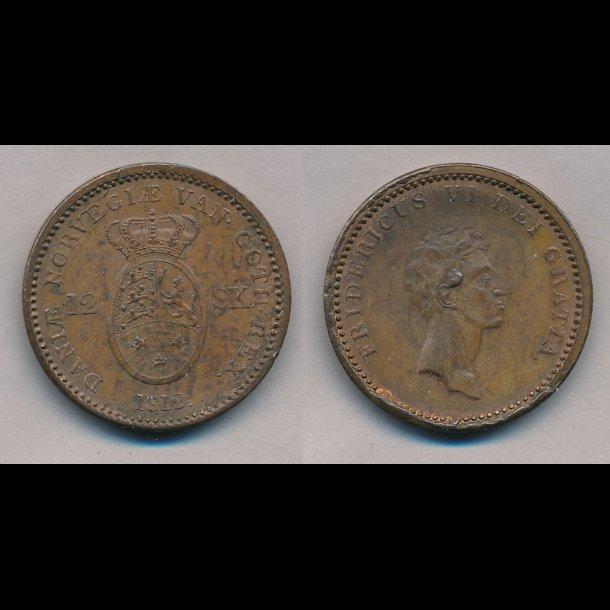 1812, Frederik VI, 12 skilling, 01, S 6, H 11,