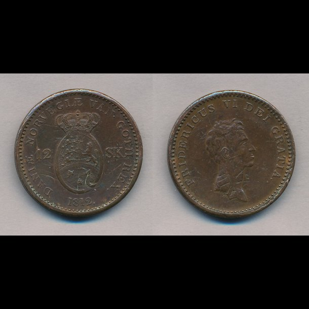 1812, Frederik VI, 12 skilling, 1+, S 6, H 11,