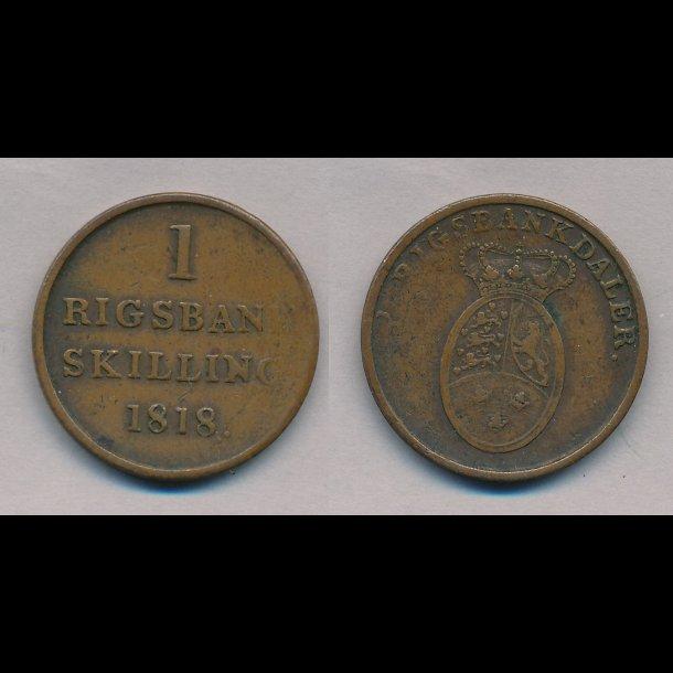 1818, Frederik VI, 1 rigsbank skilling, 1,