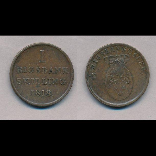 1818, Frederik VI, 1 rigsbank skilling, 1+,