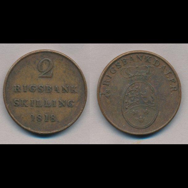 1818, Frederik VI, 2 rigsbank skilling, 1++,
