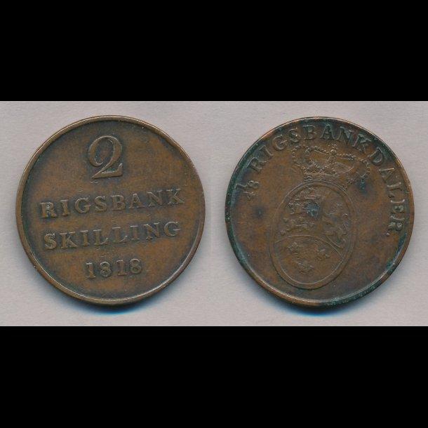 1818, Frederik VI, 2 rigsbank skilling, 1+,