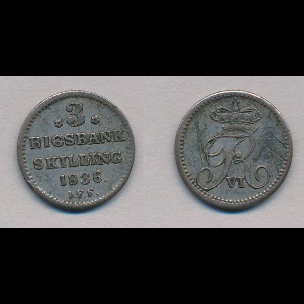 1836, Frederik VI, 3 rigsbank skilling, 1+,
