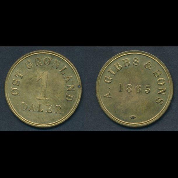 1863, Gibbs & Sons, 1 daler, 1+/01