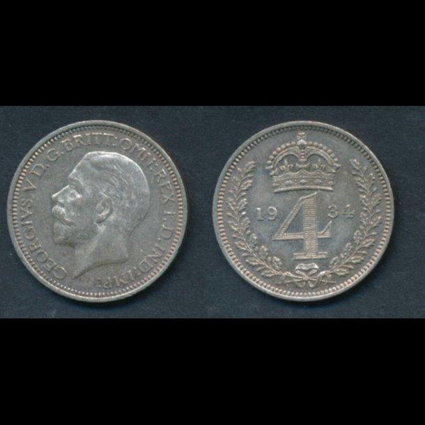 1934, England, George V, 4 pence, Maundy, 01