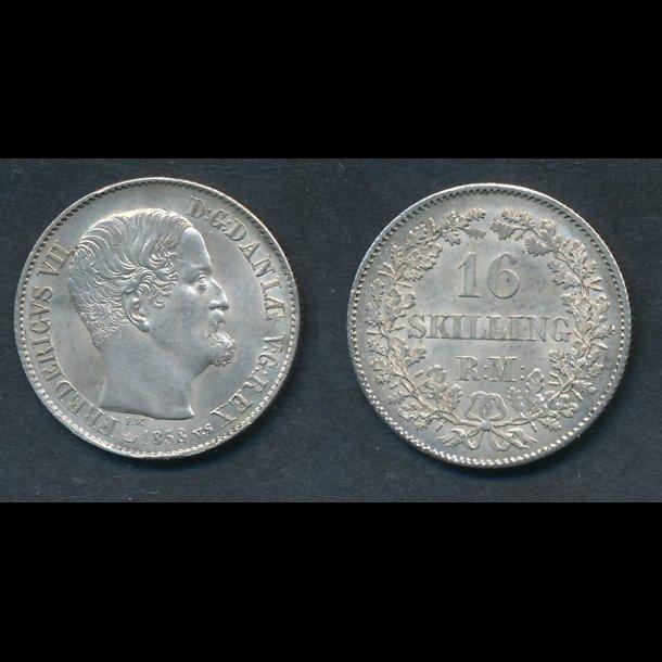 1858, Frederik VII, 16 skilling, næsten 0