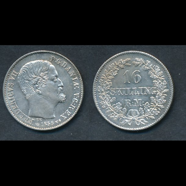 1858, Frederik VII, 16 skilling, 01