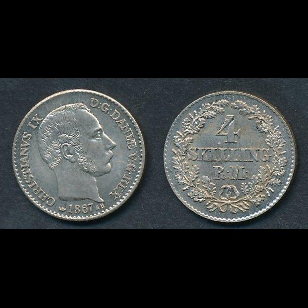 1867, Christian IX, 4 skilling, 0/01