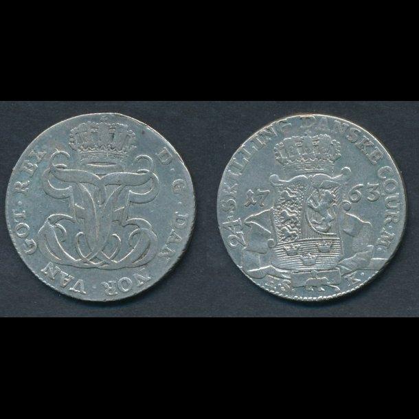 1763, Frederik V, 24 skilling, H35B, 1+