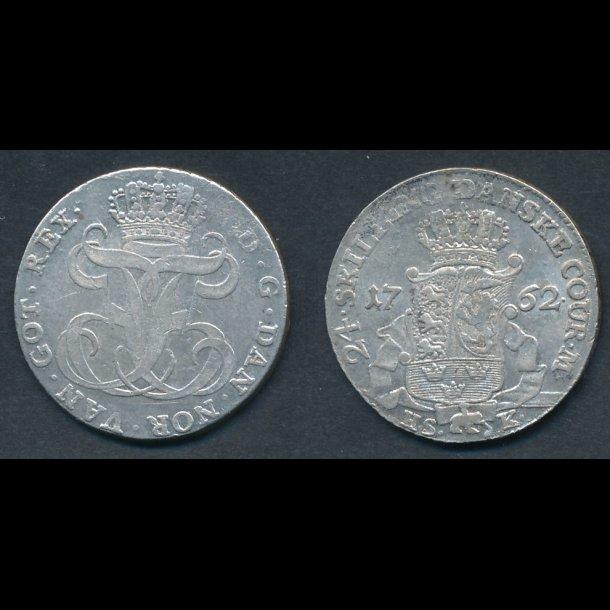 1762, Frederik V, 24 skilling, H35B, 1+
