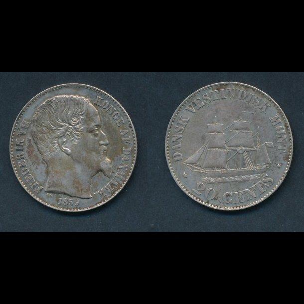 1859, Dansk Vestindien, Frederik VII, 20 cents, H19,
