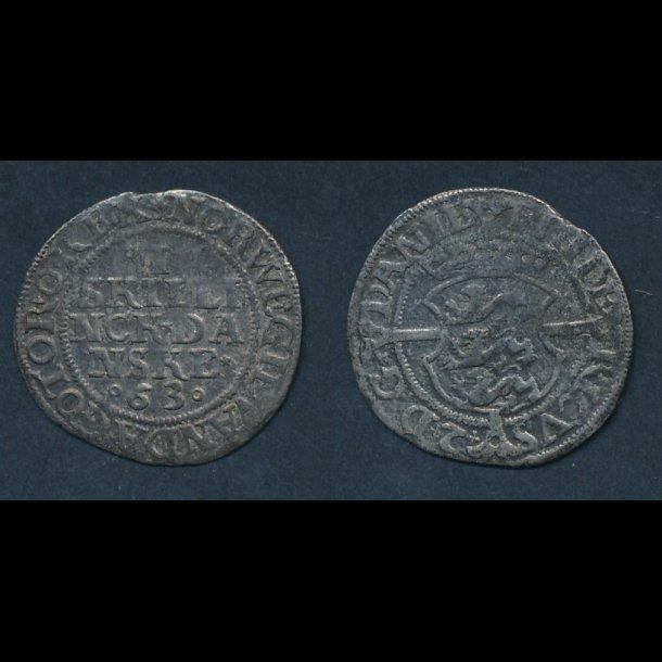 1563, Frederik II, 1 skilling, H12, 1