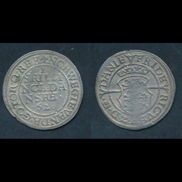 1562, Frederik II, 1 skilling, H12, 1+