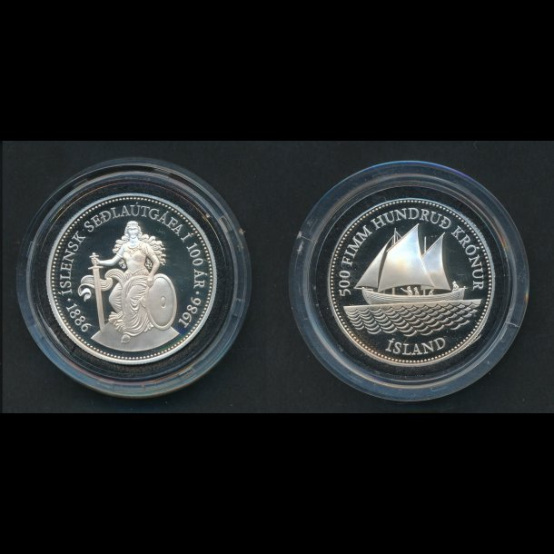 1986, Island, 500 kronur, 100-års jubilæum for pengesedler, proof