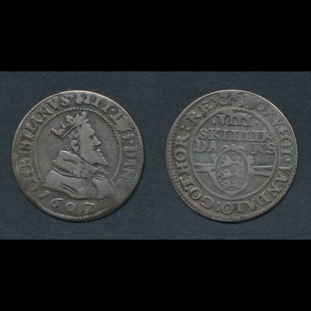 1607, Christian IV, VIII skilling, H93A, 1/1+