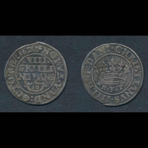 1620, Christian IV, VIII skilling, H114A, 1+