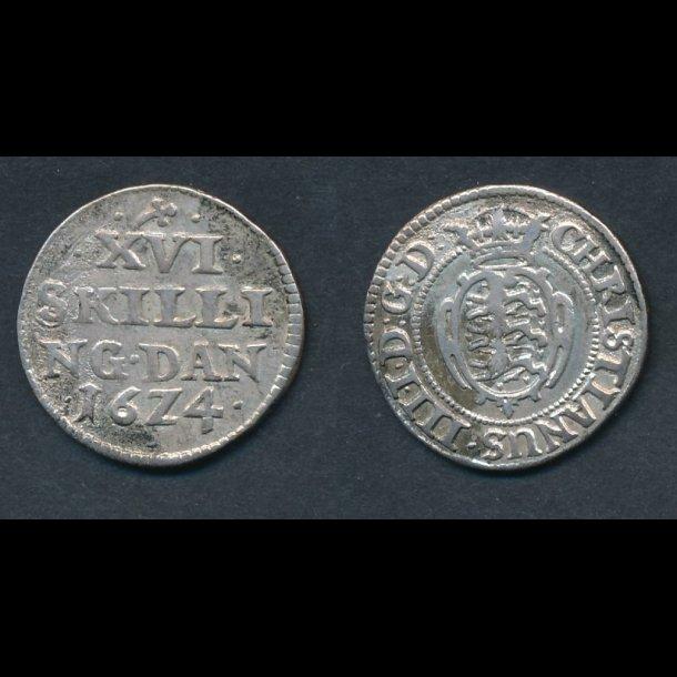 1624, Christian IV, XVI skilling, H131, 1+