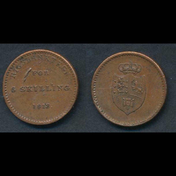 1813, Frederik VI, rigsbanktegn, 6 skilling, 1+