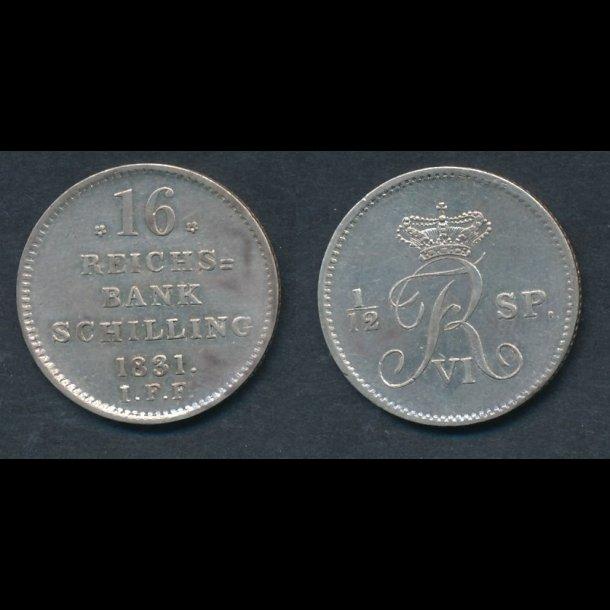 1831, Frederik VI, 16 rigsbankskilling, 01