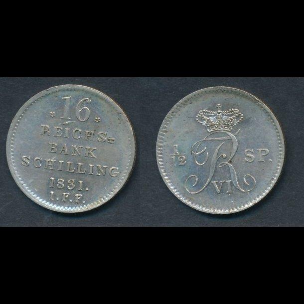 1831, Frederik VI, 1/12 speciedaler, 0