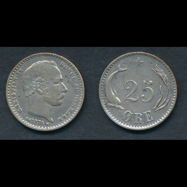 1874, 25 øre, 1+