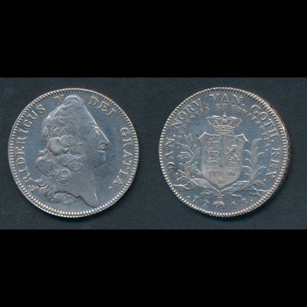 1748, Frederik V, krone, H31A, renset, 1+