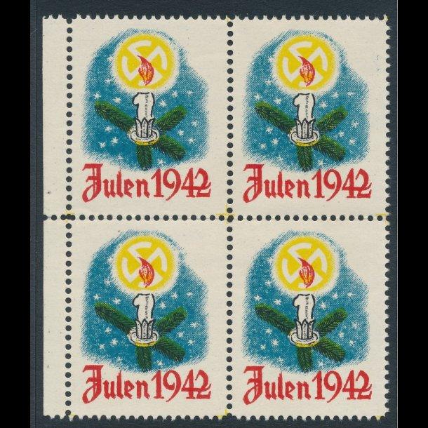 1942, Julemærke, DNSAP ** , fireblok