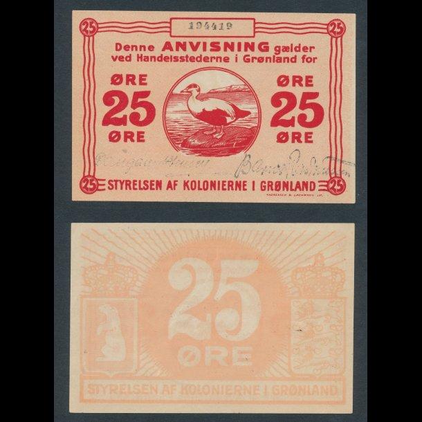 (1913), Grønland,  25 øre, (1913), 0, Sieg 58C, Greenland, 25 oere, banknote