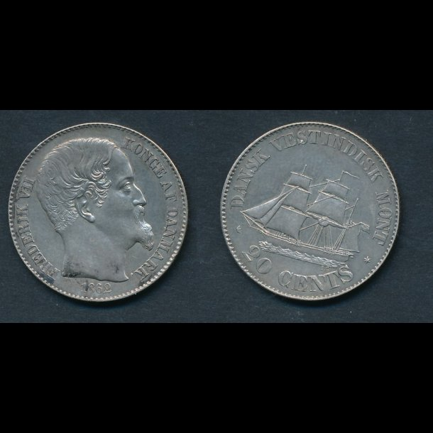 1862, Dansk Vestindien, Frederik VII, 20 cents, S19, 0/M