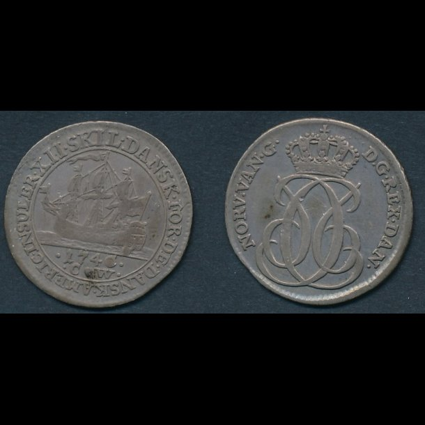 1740, Dansk Vestindien, Christian VI, 12 skilling, 1(+)