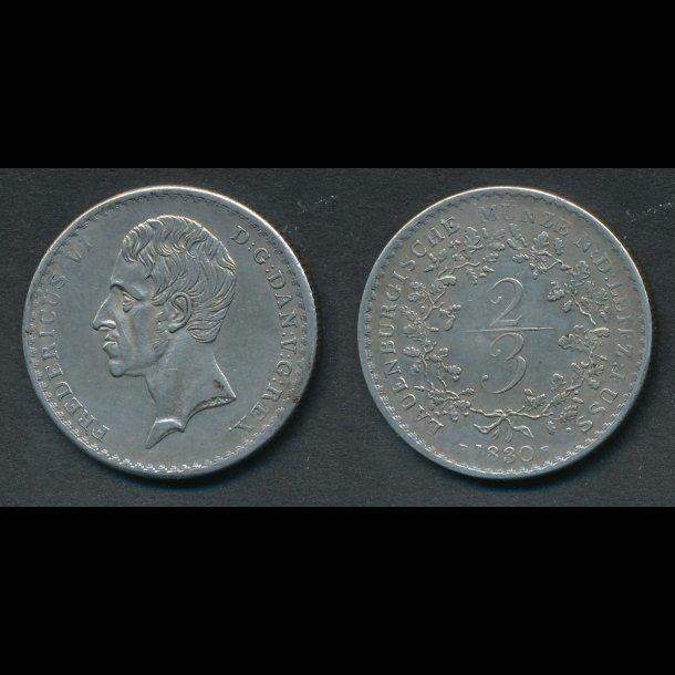 1830, Frederik VI, Lauenborg 2/3 , Zweidrittel, H1 , 1++