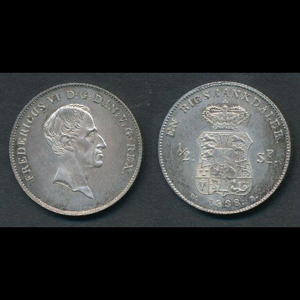 1838, WS, Frederik VI, 1 rigsbankdaler / ½ specie, 0, H28C, S7,