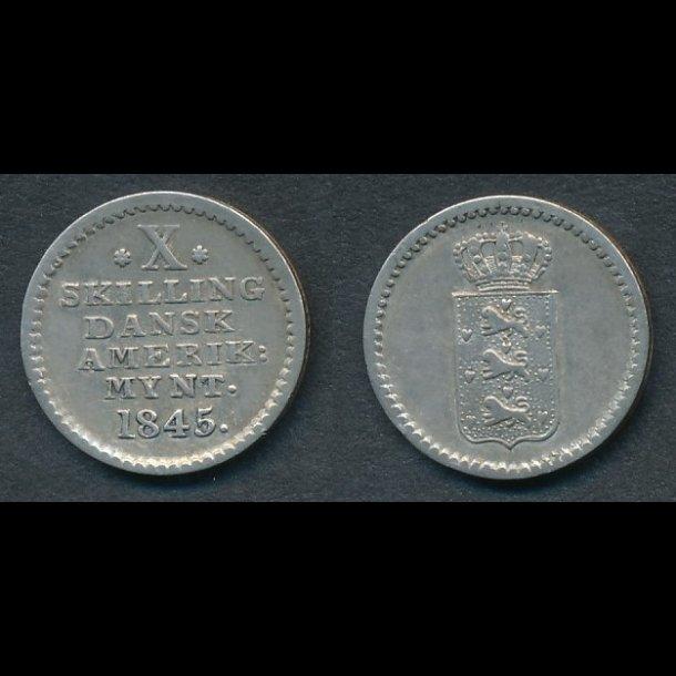 1845, Dansk Vestindien,  Dansk Amerikansk mønt, X skilling, 1++