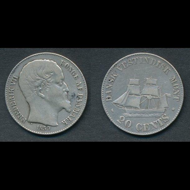 1859, Dansk Vestindien, Frederik VII, 20 cent, 1(+)
