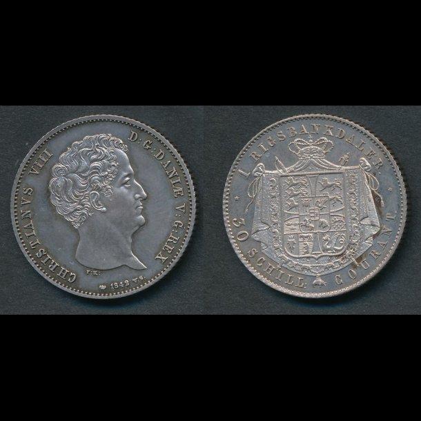 1842, VS, Christian VIII, 1 rigsbankdaler, M, H4A,