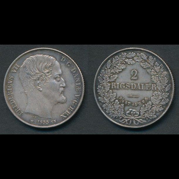 1855, Frederik VII, 2 Rigsdaler, VS, 01, - (R144)