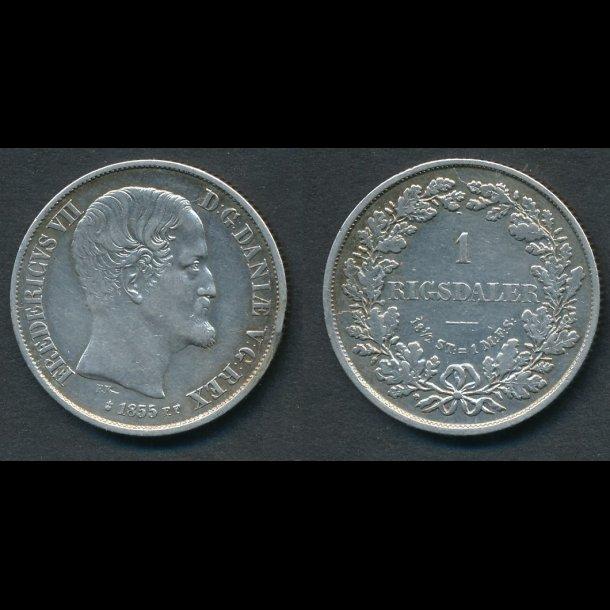1855, Frederik VII, 1 Rigsdaler, FF, 1++, (R148)