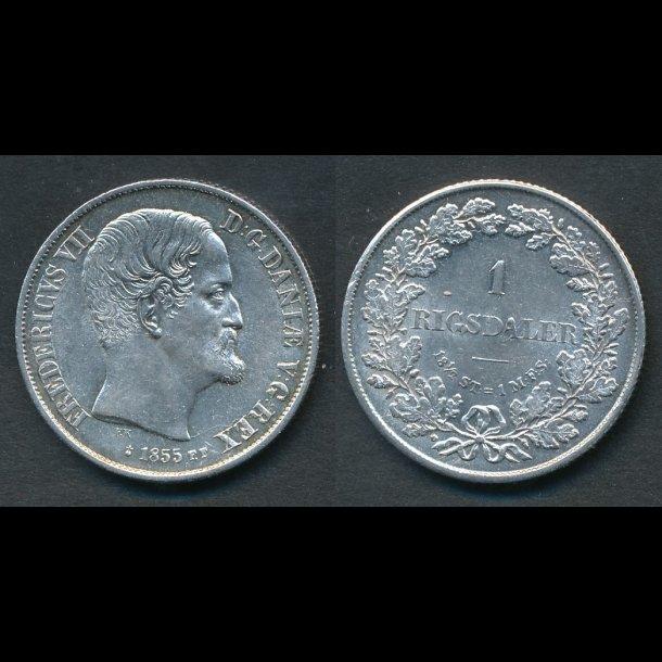 1855, Frederik VII, 1 Rigsdaler, FF, 0/01, (R150)