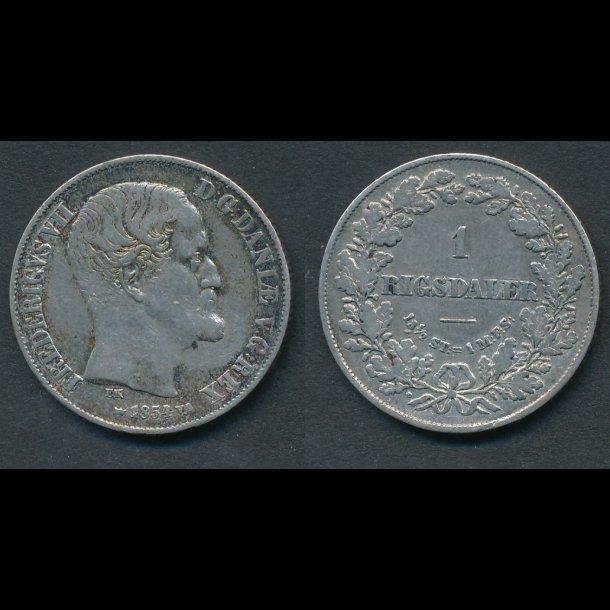 1854, Frederik VII, 1 Rigsdaler, VS, 1+, - (R152)