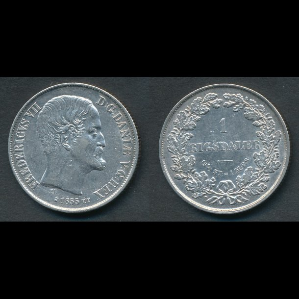 1855, Frederik VII, 1 Rigsdaler, FF, 01, (R154)