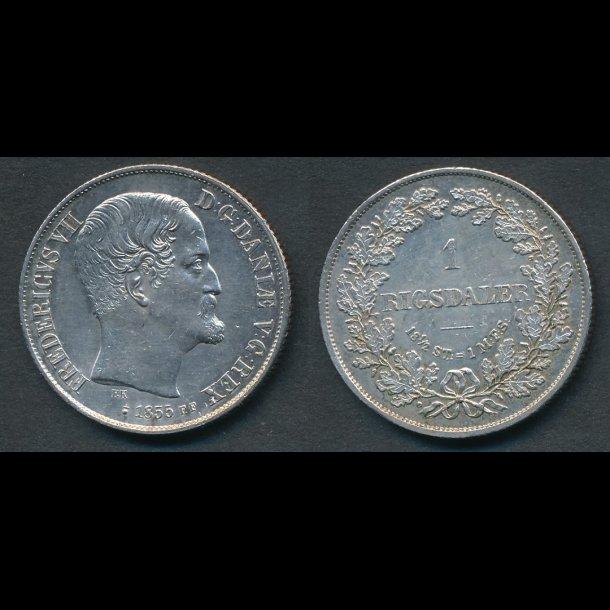 1855, Frederik VII, 1 Rigsdaler, FF, 0/01, (R155)