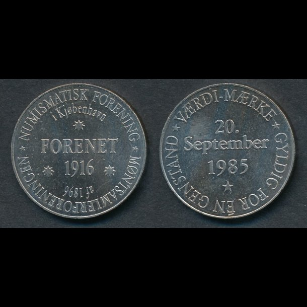 1985,  DNF's 100 års jubilæums jeton i CUNI, forenet
